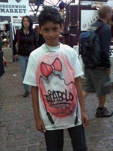 Kane with his Custom Diabolo Cartoon Airbrushed Tshirt