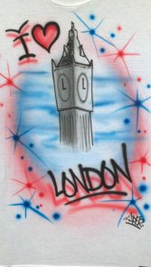 Big Ben I Love London Custom Airbrushed Tshirt