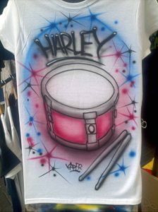 Snare Drum and Sticks Cartoon Custom Airbrushed Tshirt