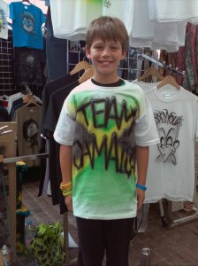 Toby weaing his Team Jamaica Olympic Airbrushed Tshirt