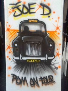 Airbrushed Custom Pom on Tour Name Taxi Cab Tshirt