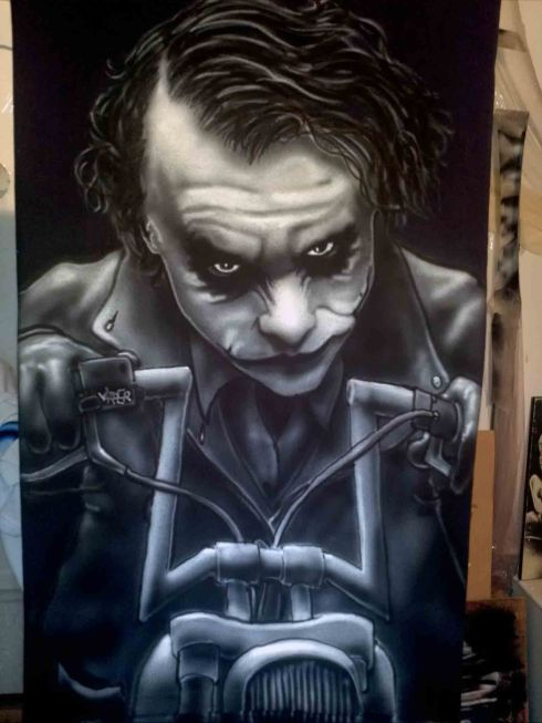 Airbrushed Joker on Harley Tshirt Final Result