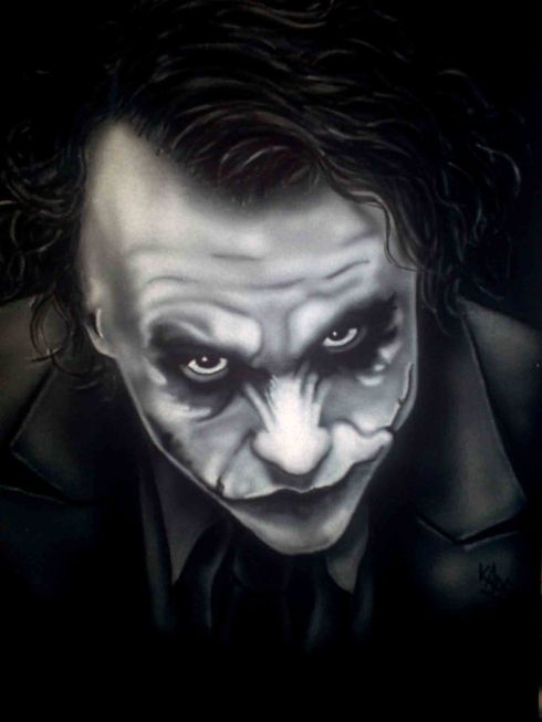 Airbrushed Portrait Tshirt Heath Ledger Joker Final Result