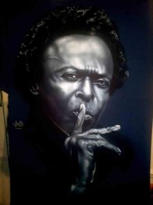 Airbrushed Portrait of Miles Davis on a dark blue T shirt