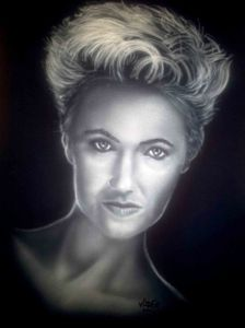 Airbrushed Portrait of Roxette Marie Fredriksson on a black Tshirt