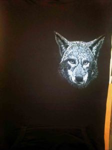 Airbrushed Wolf's Head on a Ladies Hoodie