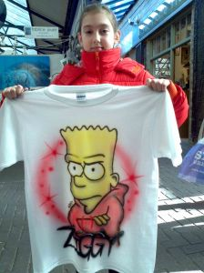 Lucia with Ziggy's Custom Airbrushed Bart Simpson T shirt