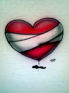 Custom Airbrushed Bleeding Heart Ladies T shirt