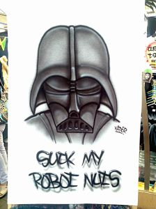 Custom Airbrushed Darth Vader Star Wars Suck My Nuts T Shirt