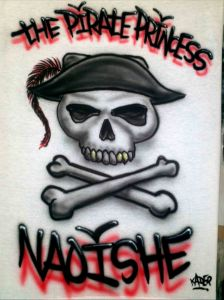 Custom Airbrushed T shirt The Pirate Princess with Pirate Skull