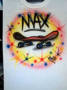 Custom Airbrushed Cartoon Skateboard T shirt