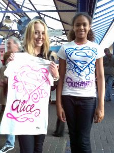 Alice & Friend Custom Airbrushed Superman Logo T shirts