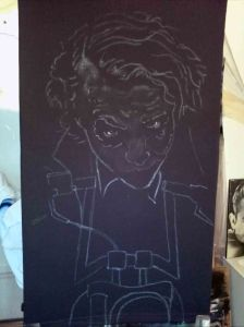 Airbrushed Joker on Harley Tshirt First Step: Outlines