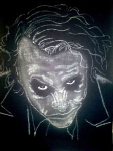 Airbrushed Portrait Tshirt Heath Ledger Joker First Step: Ghost Image from Fabric Stencil