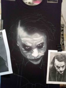 Airbrushed Joker on Harley Tshirt Second Step: White Skin Features