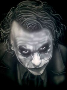 Airbrushed Portrait Tshirt Heath Ledger Joker Third Step: More Face and First Layer Hair