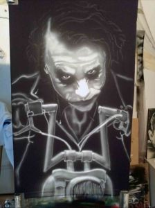 Airbrushed Joker on Harley Tshirt Fourth Step: Shaping Bike Features
