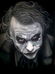 Airbrushed Portrait Tshirt Heath Ledger Joker Fourth Step: Facial Shadows