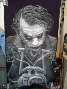 Airbrushed Joker on Harley Tshirt Fifth Step: Adding the Hair & Jacket