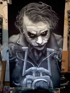 Airbrushed Joker on Harley Tshirt Sixth Step: Facial Shadows & Jacket oulines