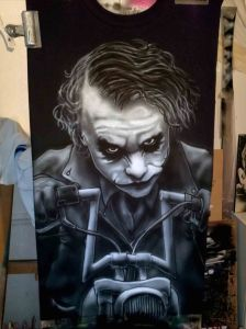 Airbrushed Joker on Harley Tshirt Seventh Step: Shadows on the Jacket, Bike and Hair