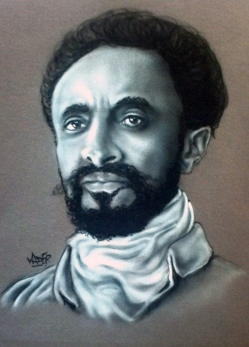 Custom Airbrushed Portrait T shirt Haile Selassie I
